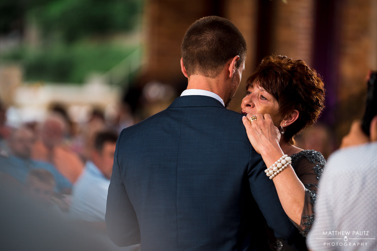 groom dancing with his mother at wyche pavilion wedding rececption