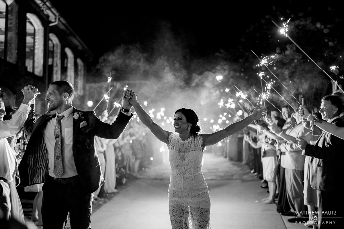 wyche pavilion sparkler exit after wedding