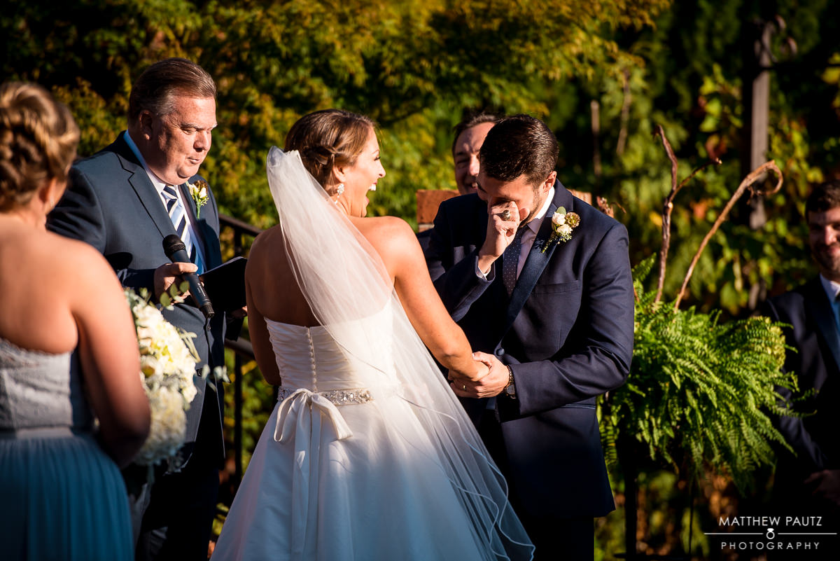 Groom crying at wedding ceremony | greenville wedding photographers