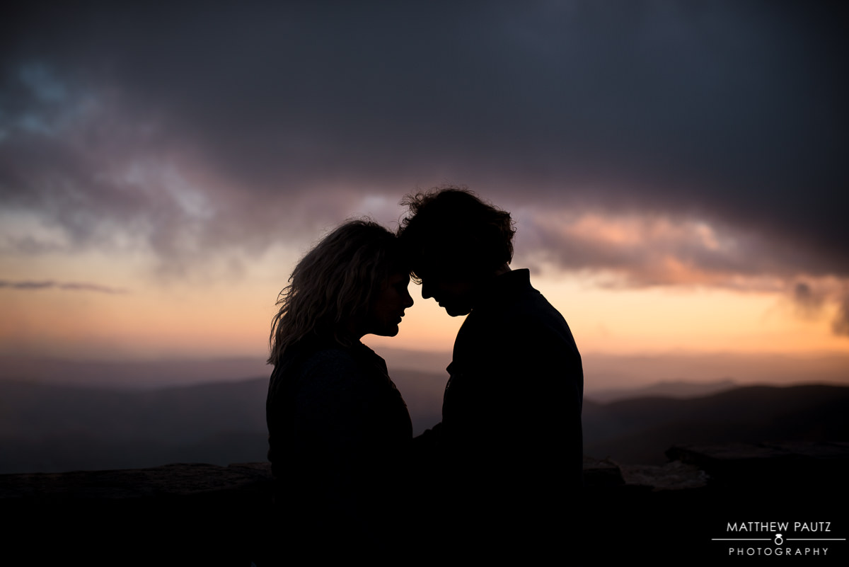 Greenville engagement photographer | couple on mountaintop at sunset