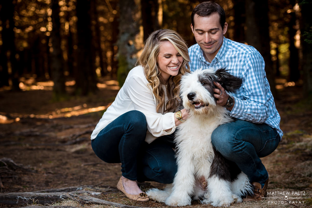 greenville engagement photography | couple posing with dog