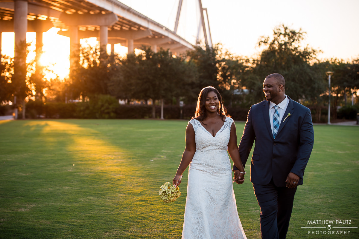 Charleston wedding photos at Cooper River Bridge
