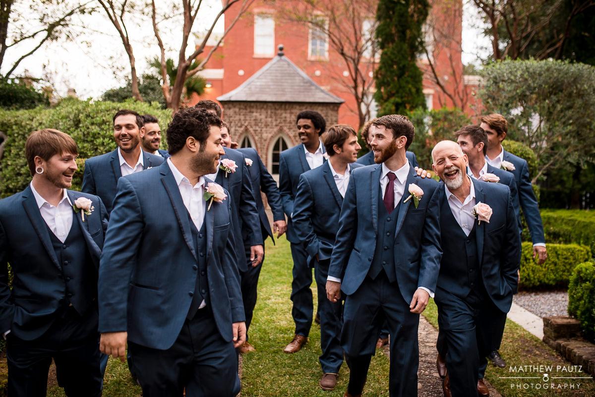 groomsmen portrait - groomsmen laughing and having fun