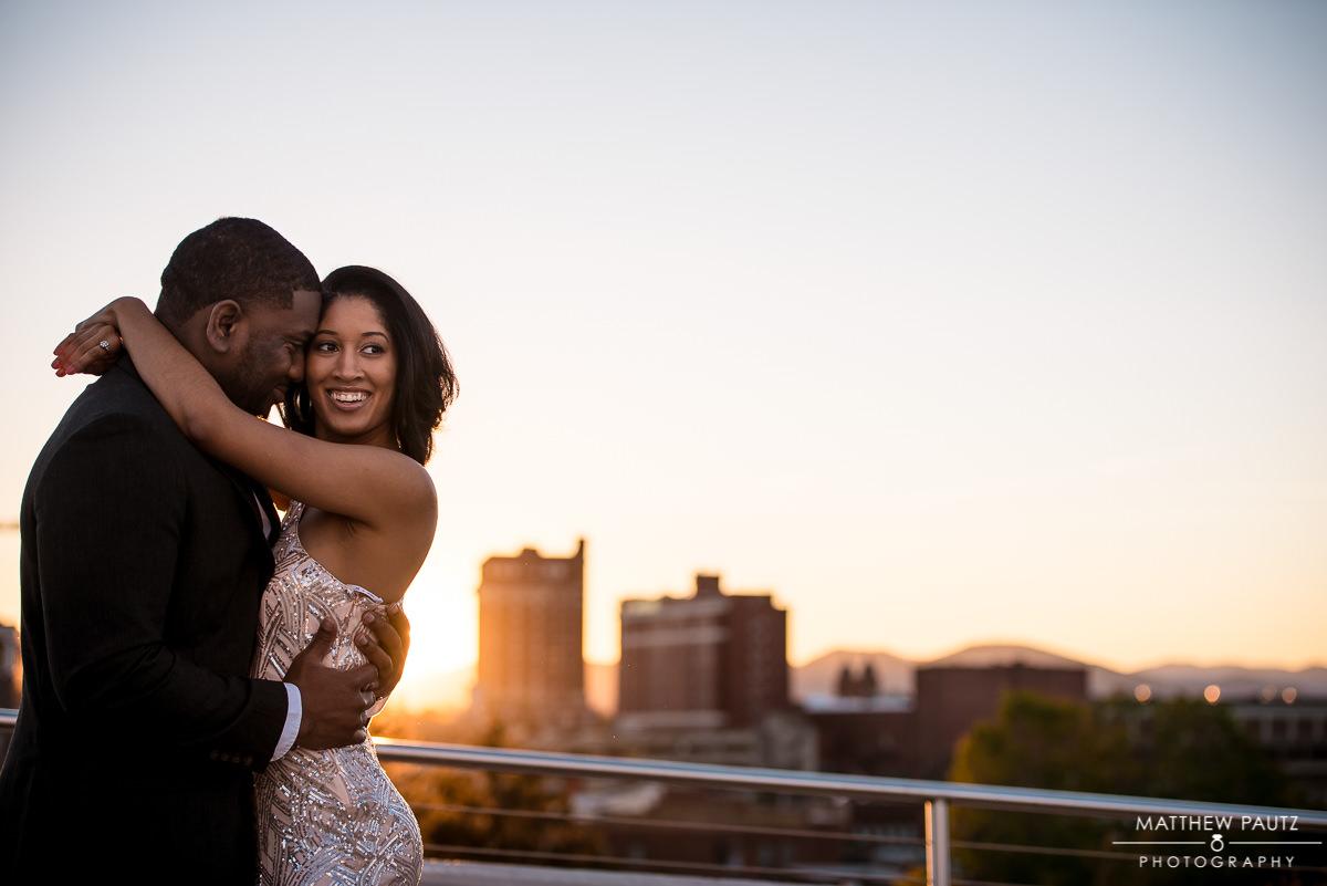 Asheville engagement photographer | engaged couple at sunset