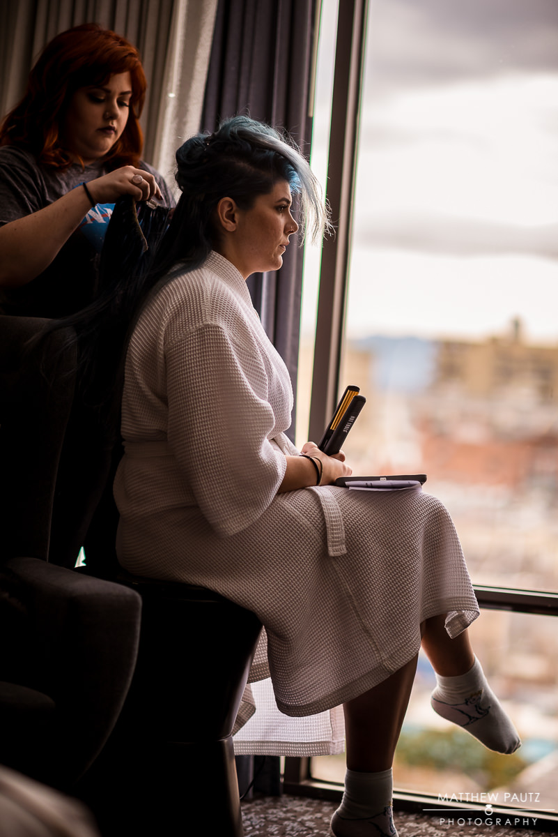Renaissance Asheville Hotel Wedding Photos | Bride getting hair done