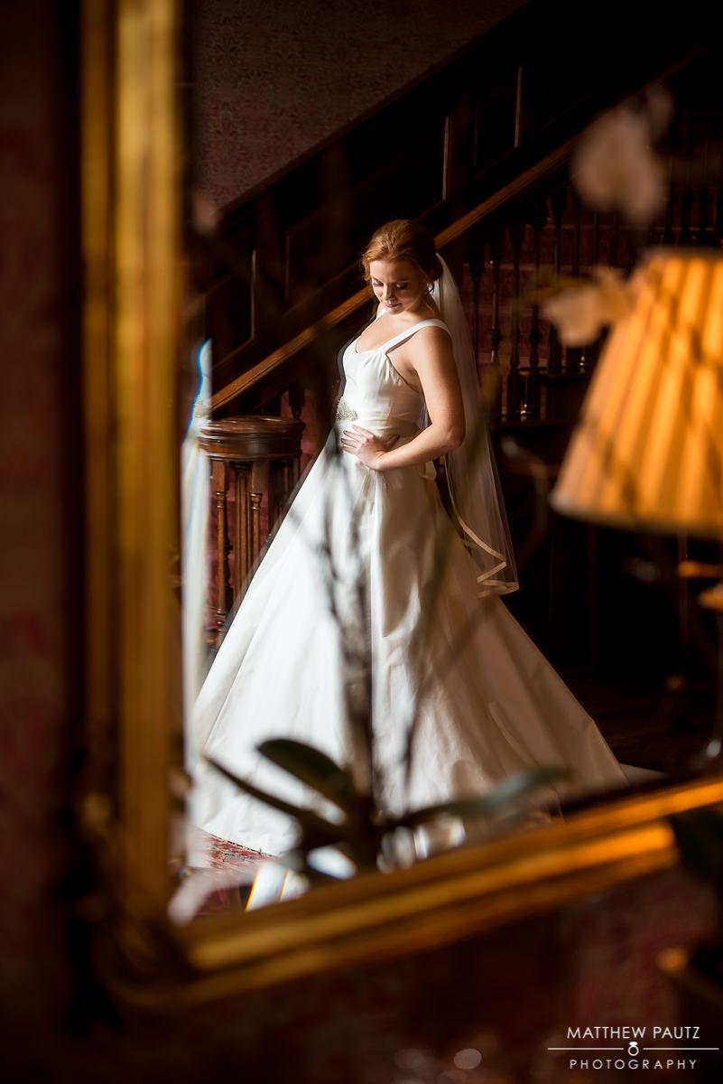 bride's reflection in a mirror