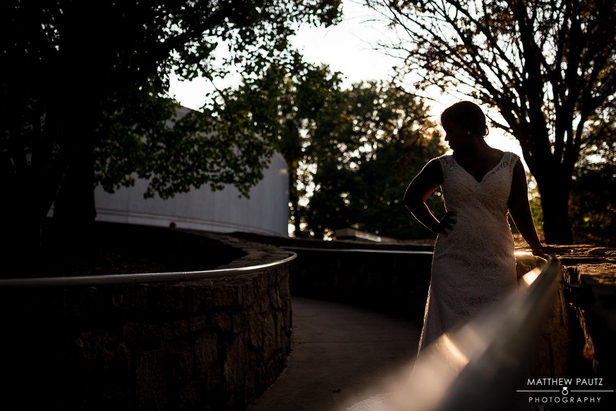 silhouette of bride in a botanical garden in Atlanta