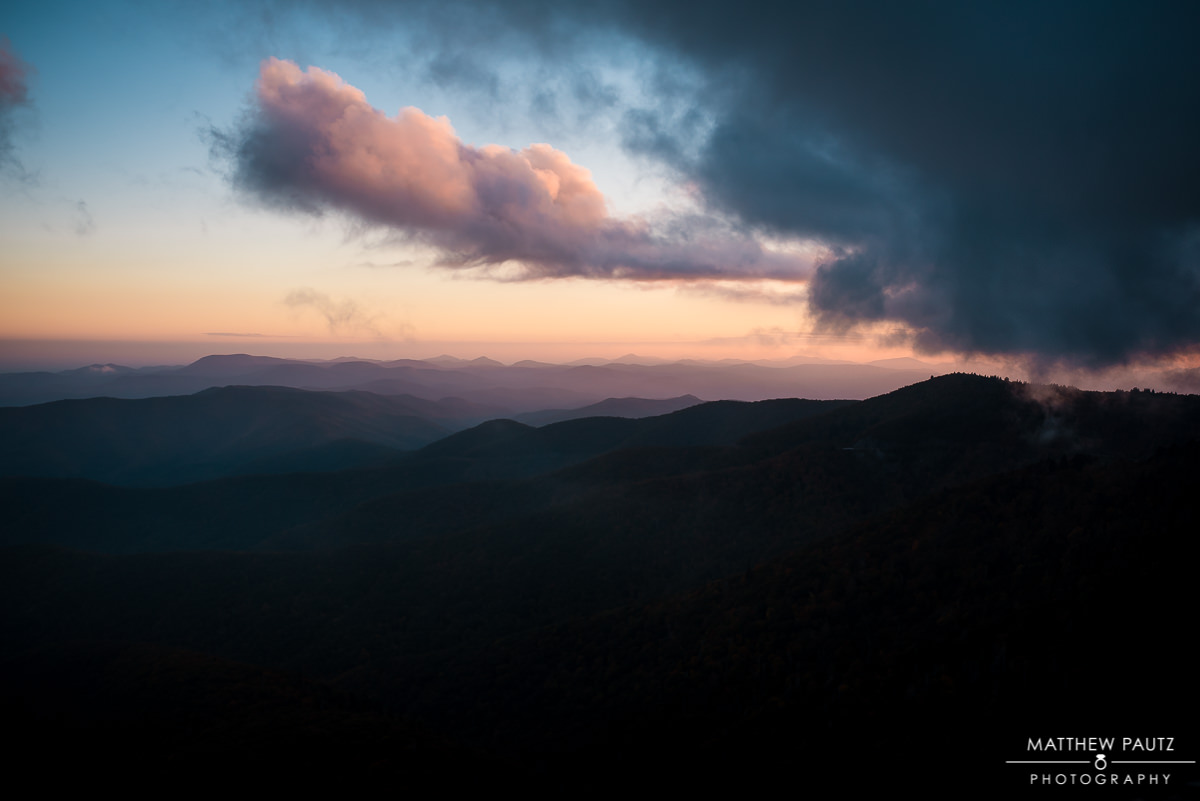 The Blue Ridge Parkway in NC at sunset