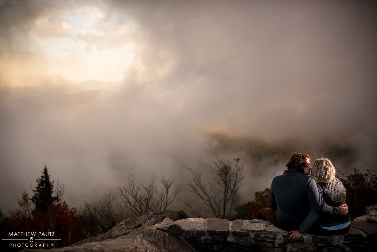 Fall mountain engagement photos on the Blue Ridge Parkway, NC