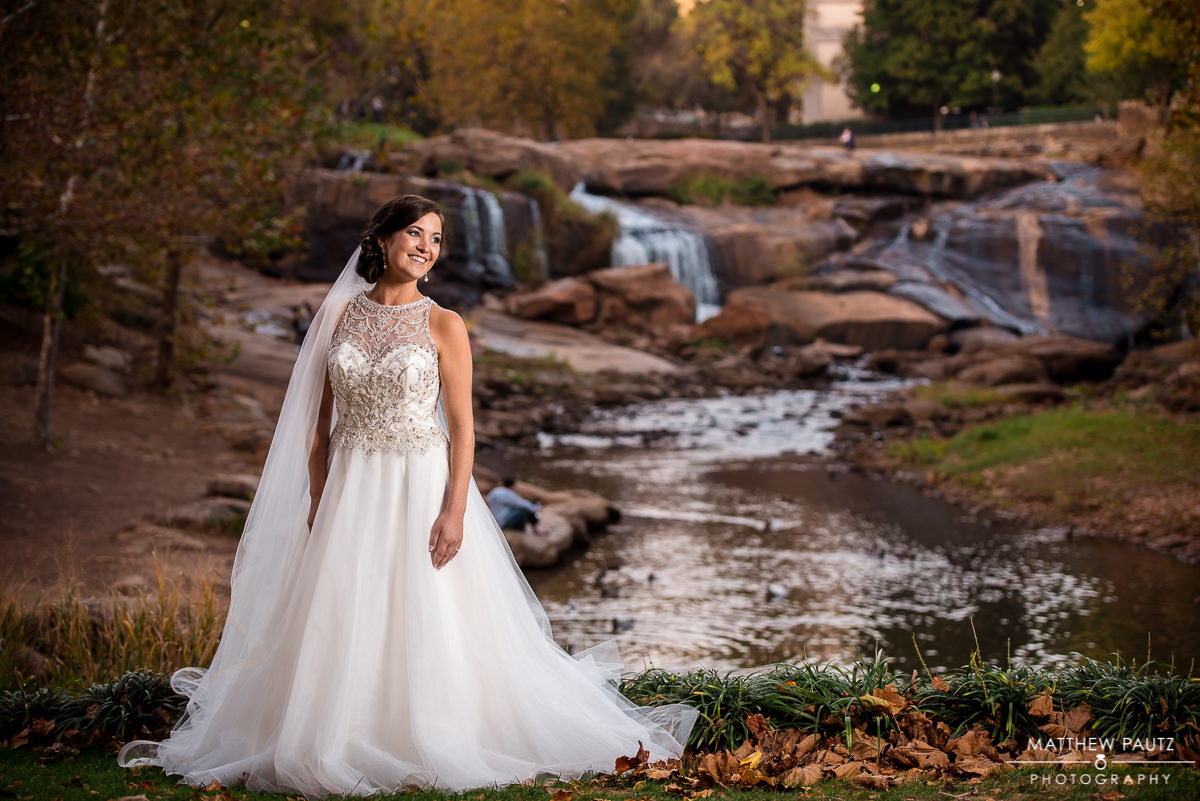Falls Park bridal photos, Downtown Greenville SC