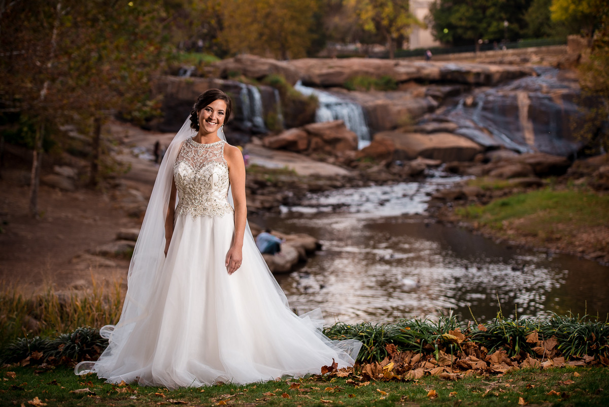 Fall bridal photos at Falls park Greenville, SC