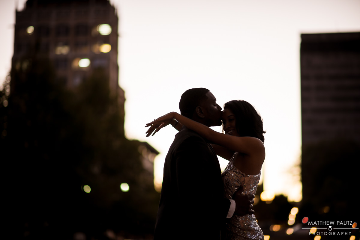 Downtown asheville engagement photos at sunset