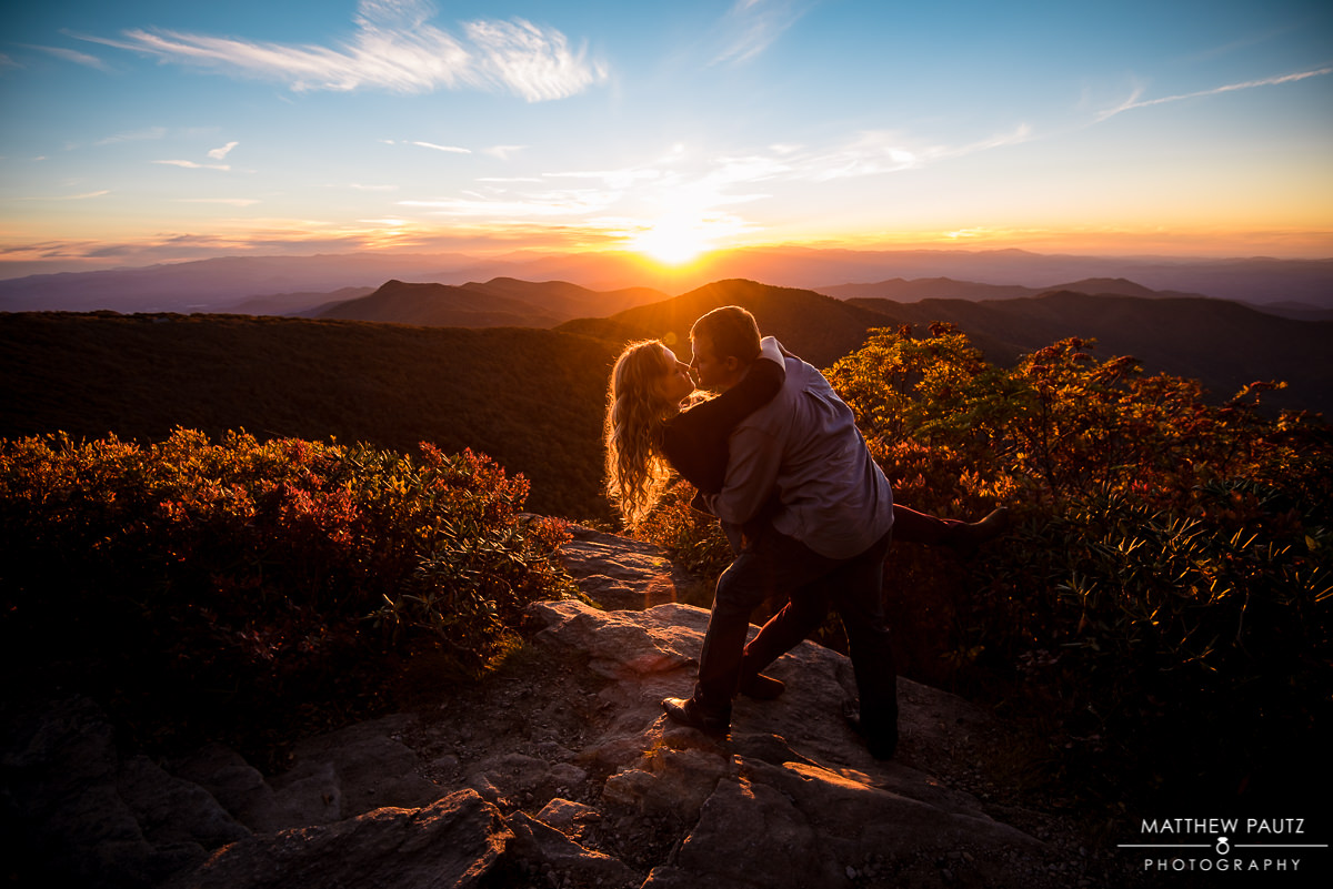 Blue ridge parkway mountain engagement photos