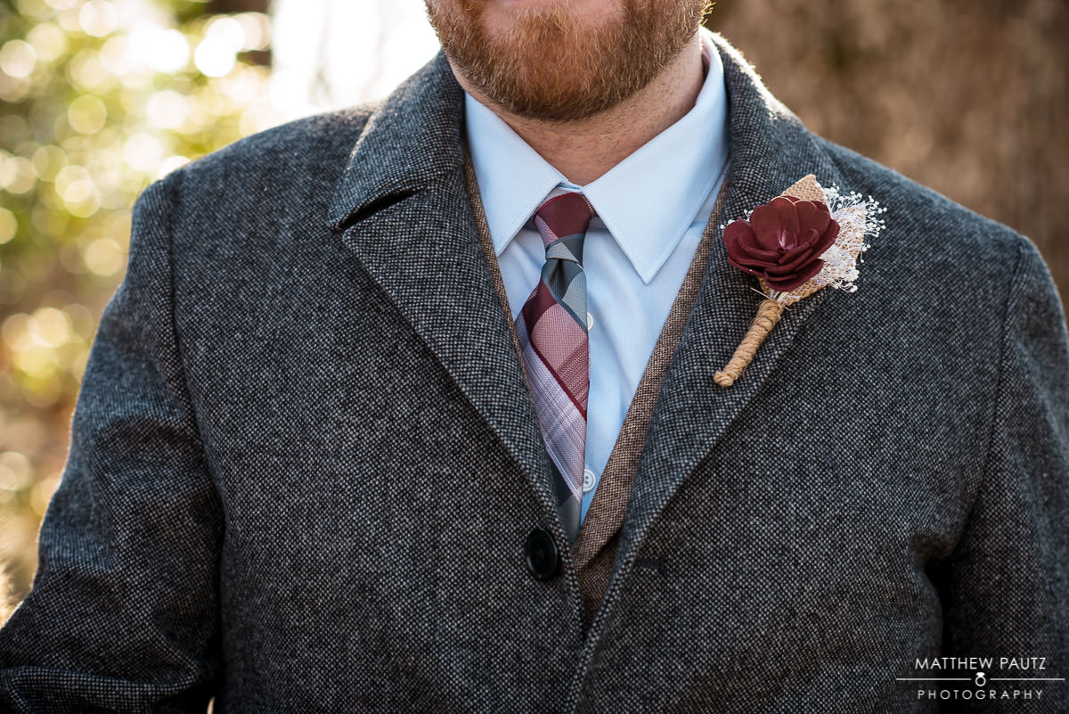 closeup of groom's boutonniere