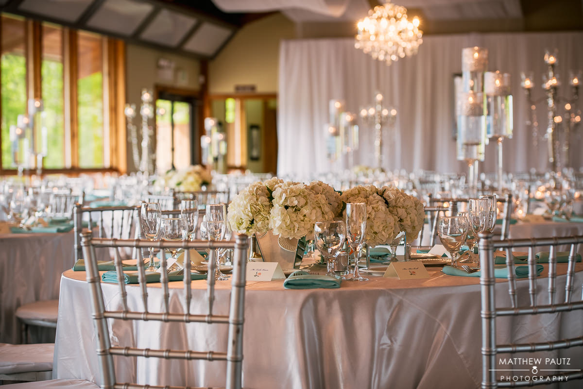 Table decorations at crest center by Blossoms at Biltmore Park