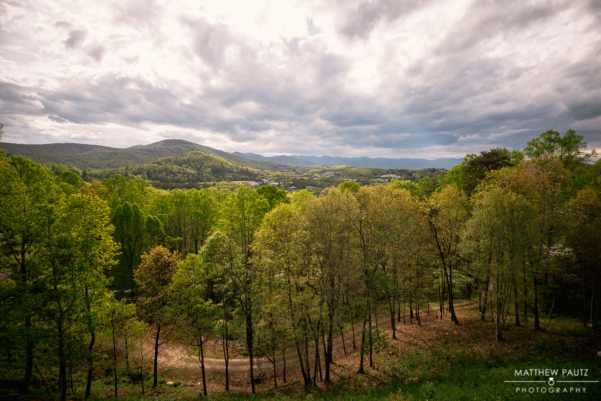 The view of the Asheville mountains from the Crest Center Deck