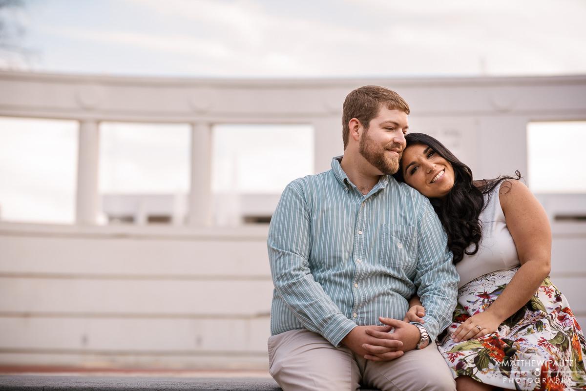 Engaged couple hugging at Clemson university