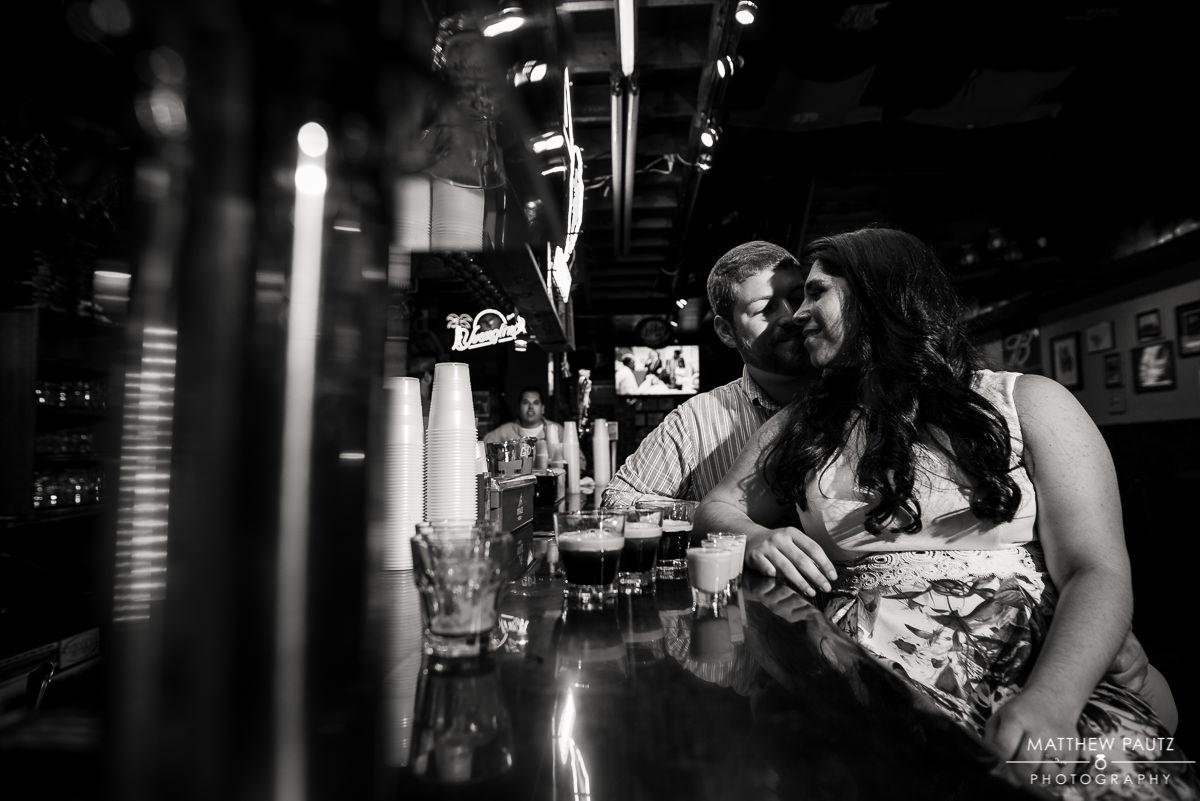bar engagement photos