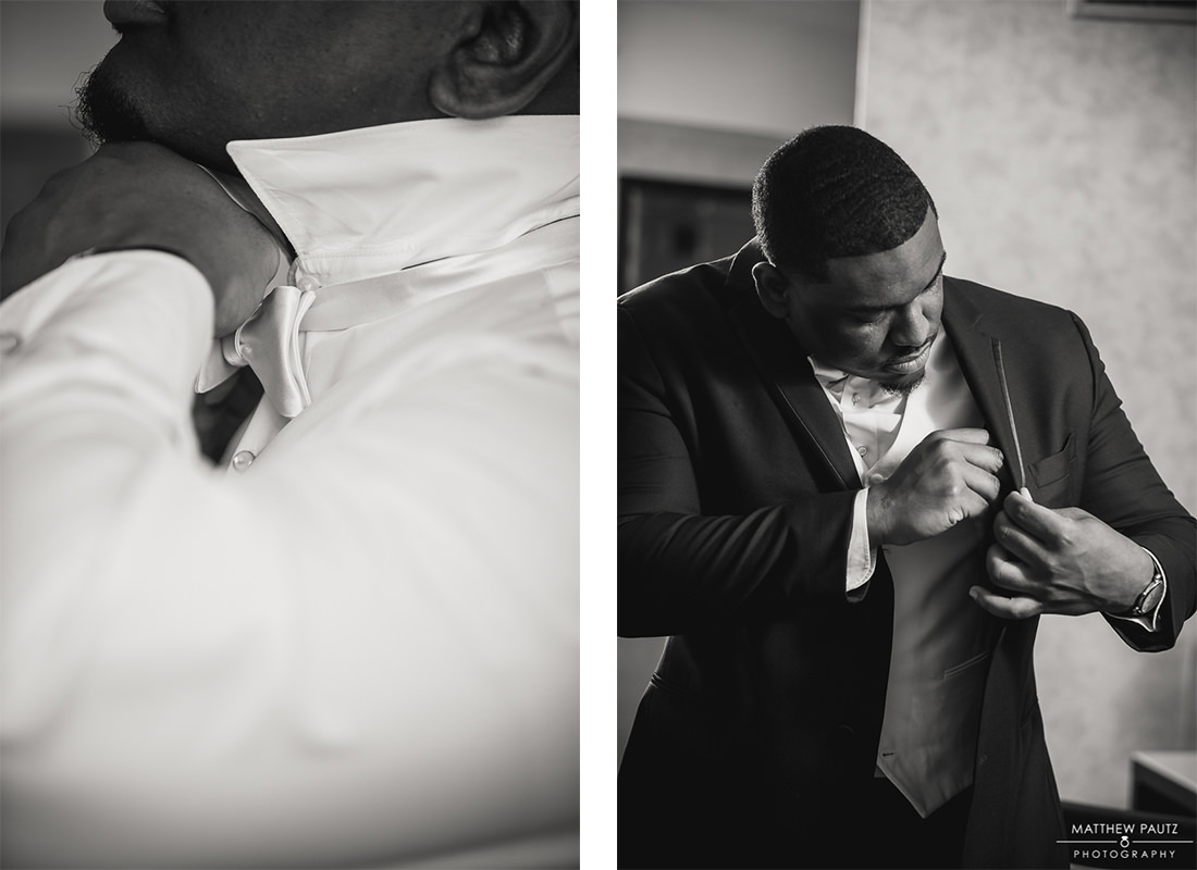 Groom preparing for wedding day