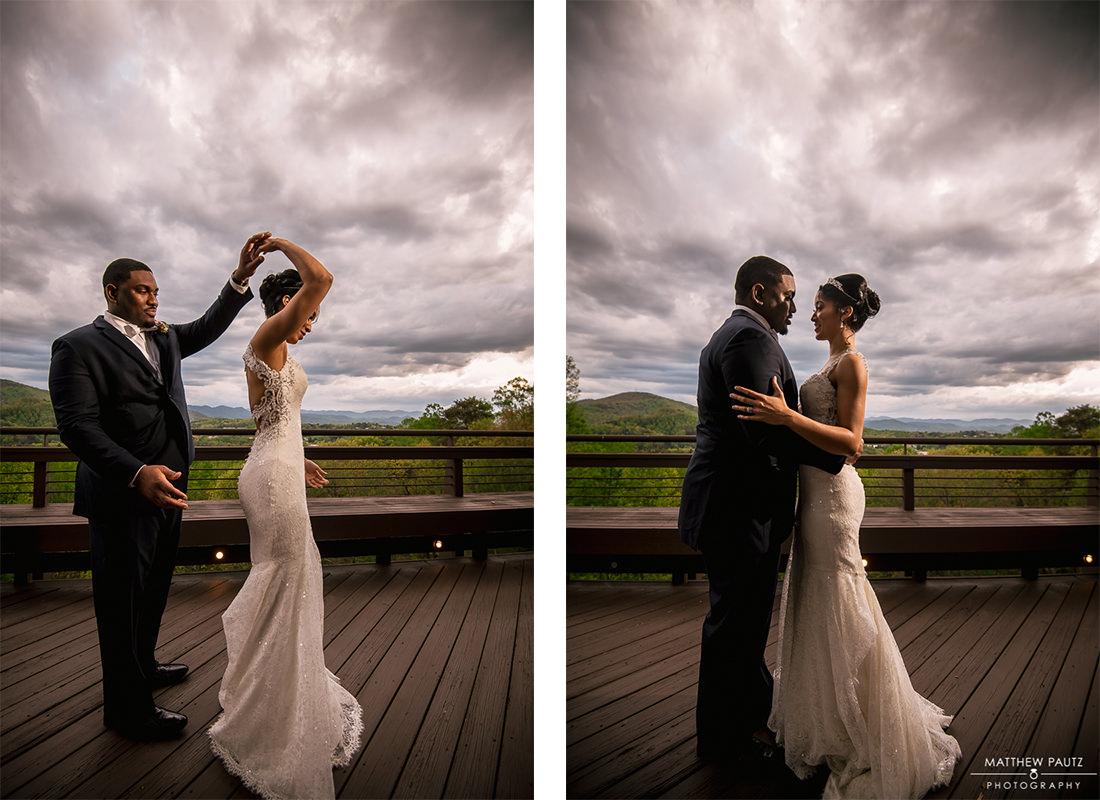 Bride and groom dancing on deck outside Crest Center