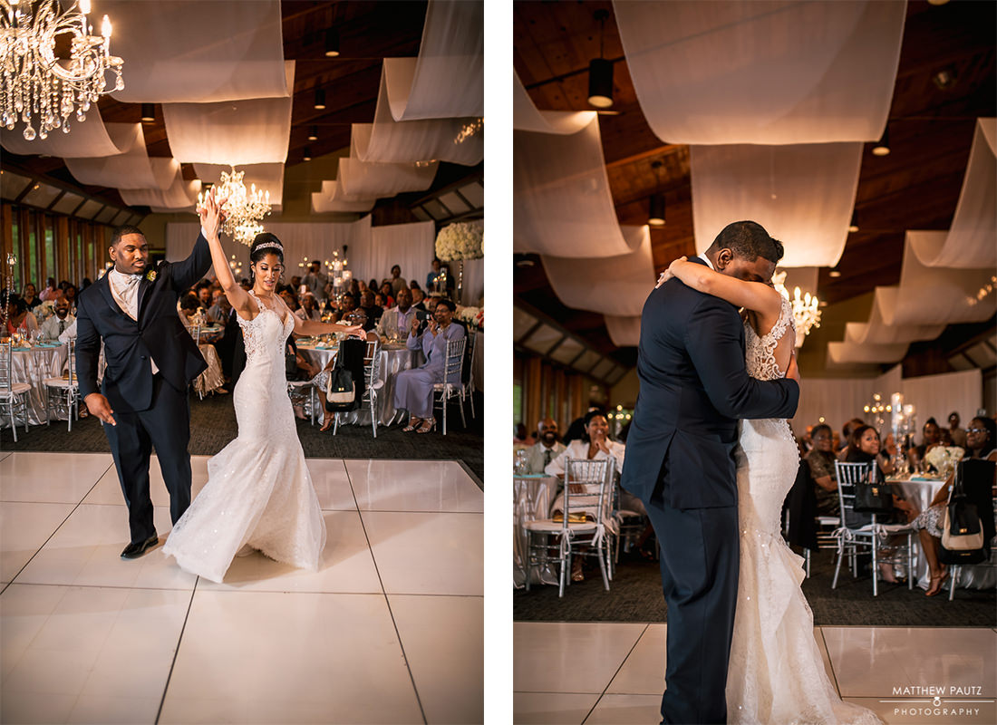 Bride and groom sharing first dance together