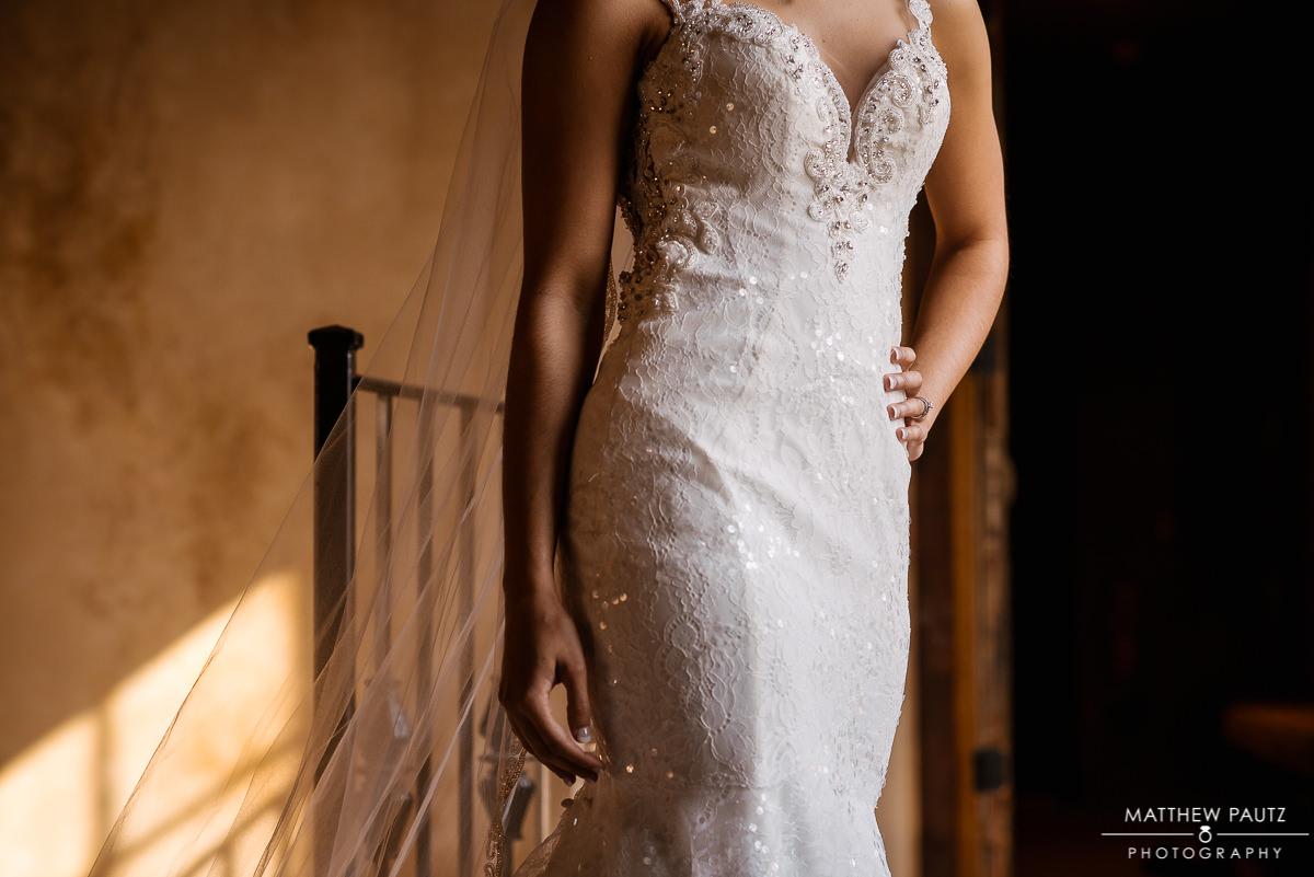 Closeup of bride in wedding dress