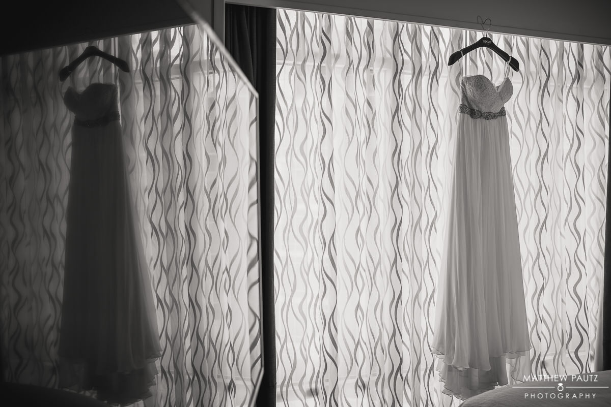 Wedding dress photo at Embassy Suites Riverplace