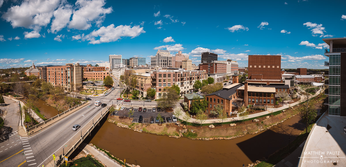 Panorama view of downtown Greenville SC From Embassy Suites Riverplace