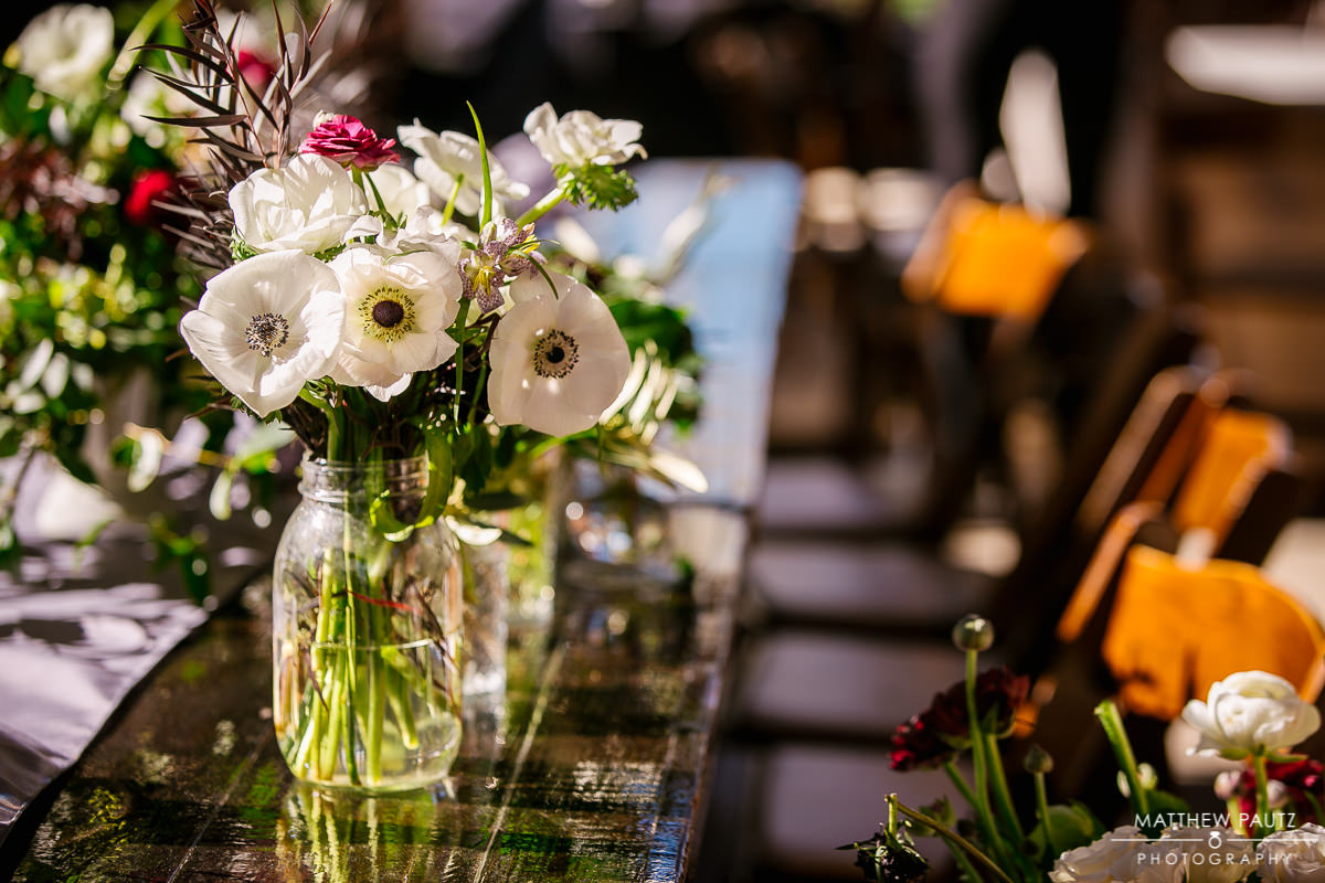Wedding flowers at Wyche Pavilion