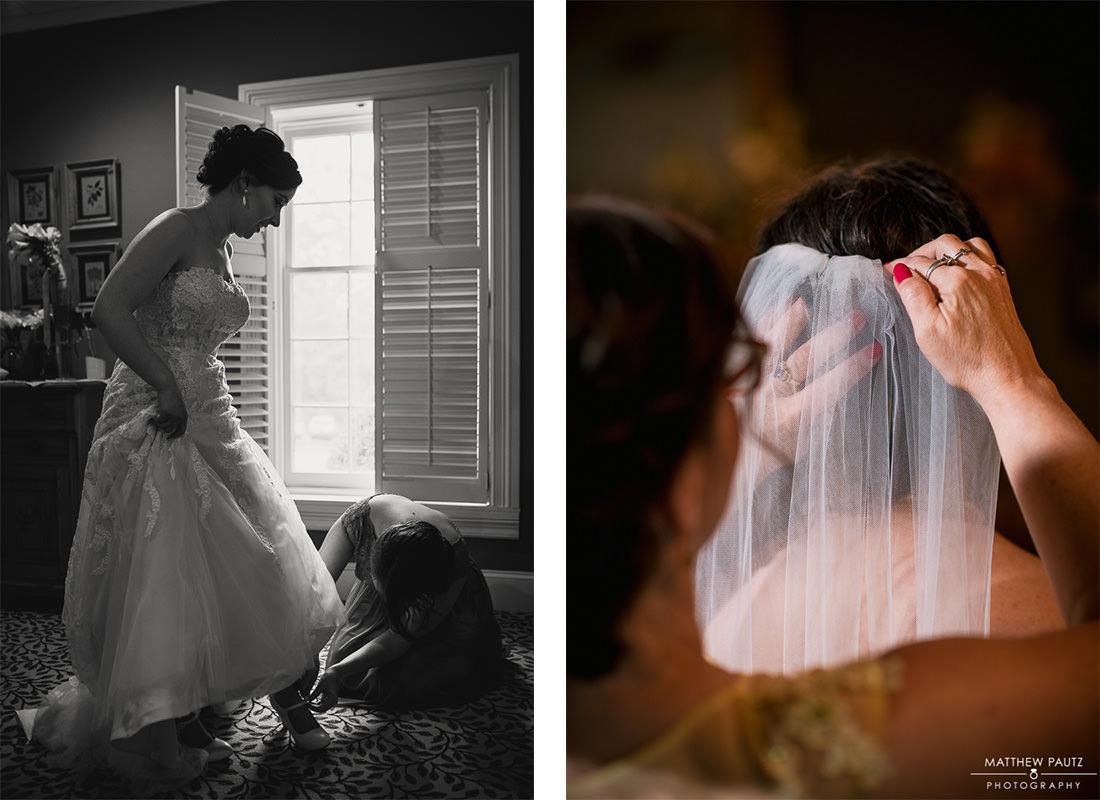 Bride getting dressed before wedding