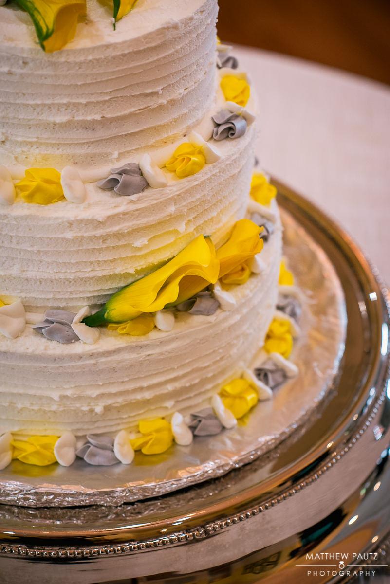 Yellow and purple wedding cake