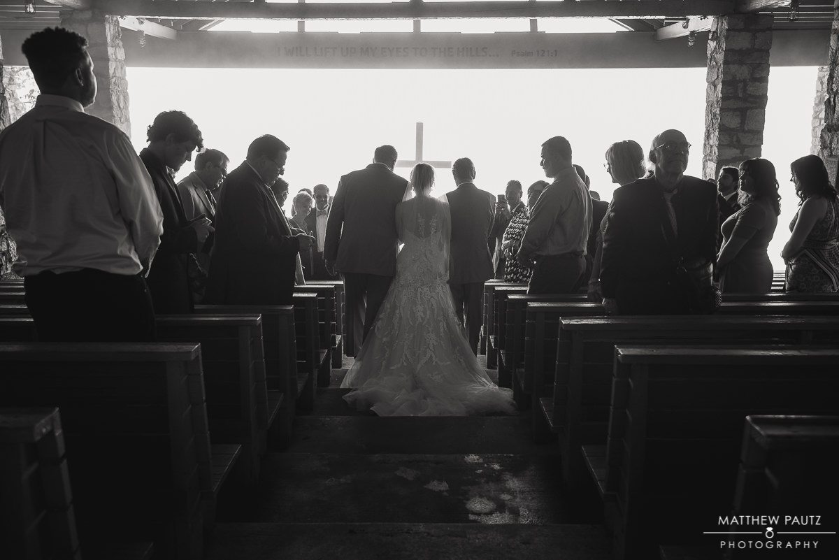 Bride walking down the aisle at Pretty Place Chapel