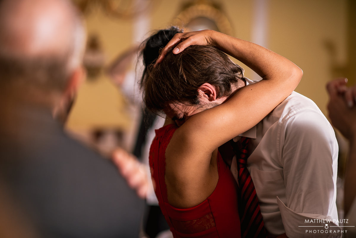 Dancing wedding guests at reception
