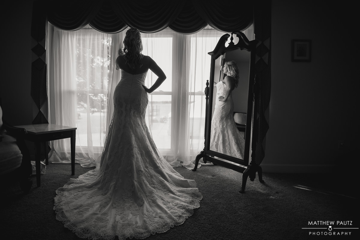 Bride getting ready before wedding