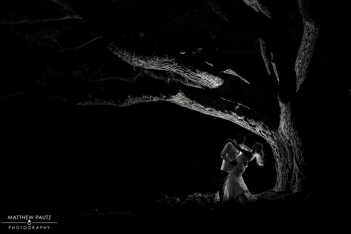 Silhouette night wedding photo under large oak tree