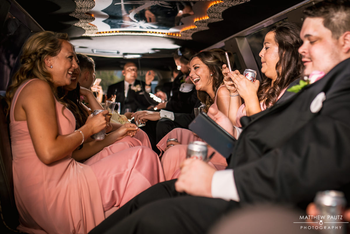 wedding party drinking in limo in greenville sc