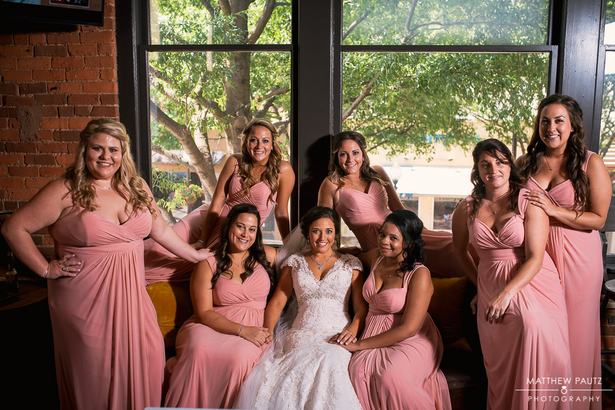 bridesmaids on couch at Brazwell's in Greenville sc