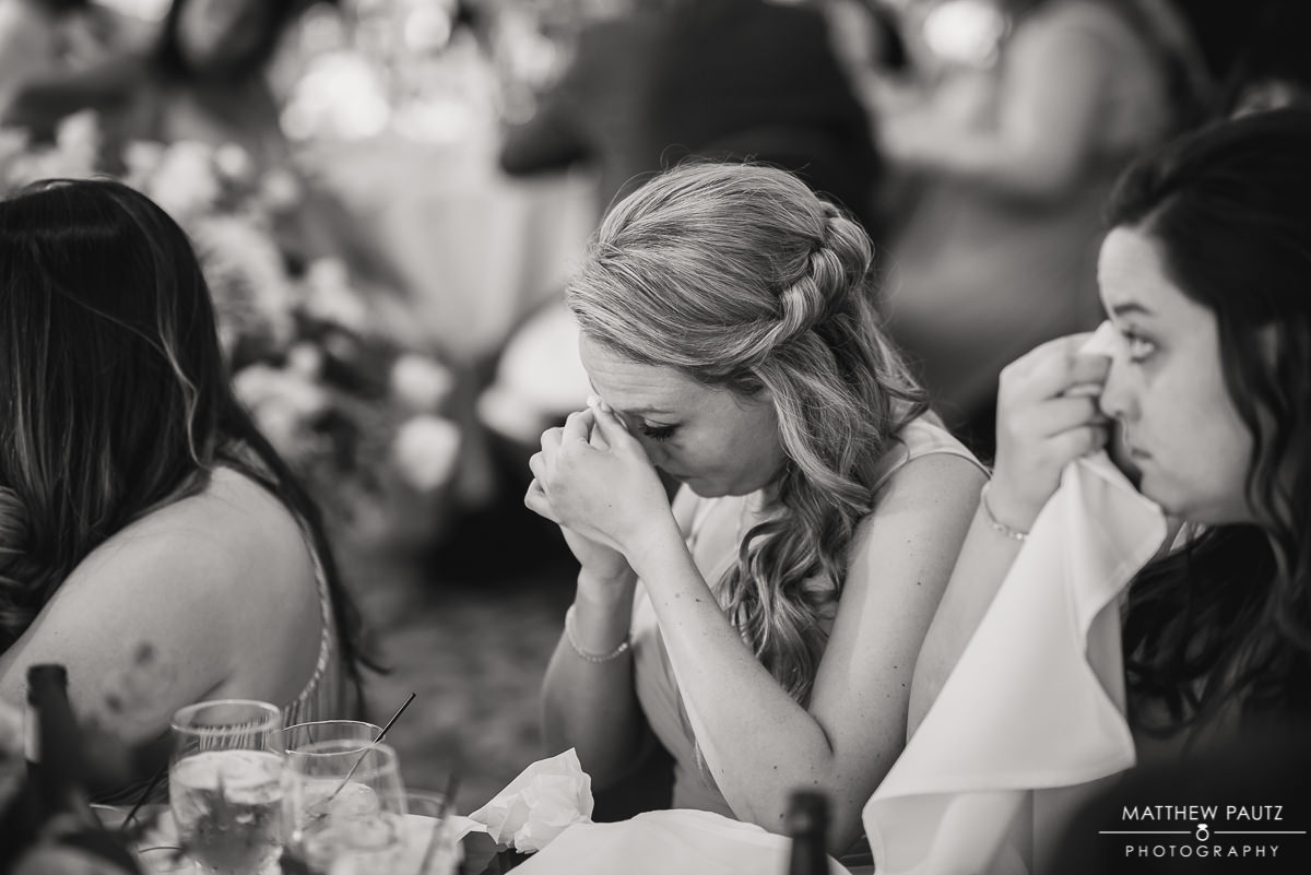 emotional bridesmaid crying during reception speech