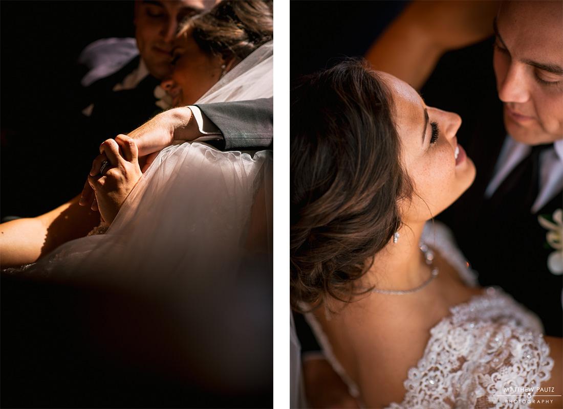 bride and groom hugging after wedding ceremony