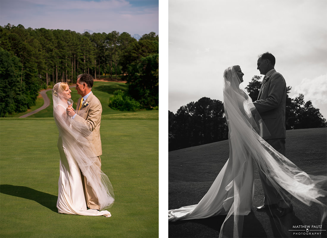 bride and groom posing on golf course at country club