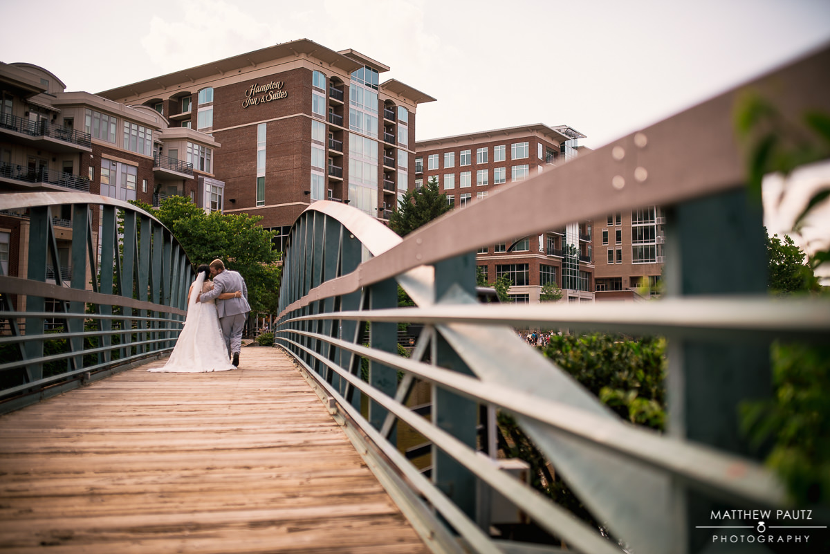 Downtown Greenville and Falls park wedding photos