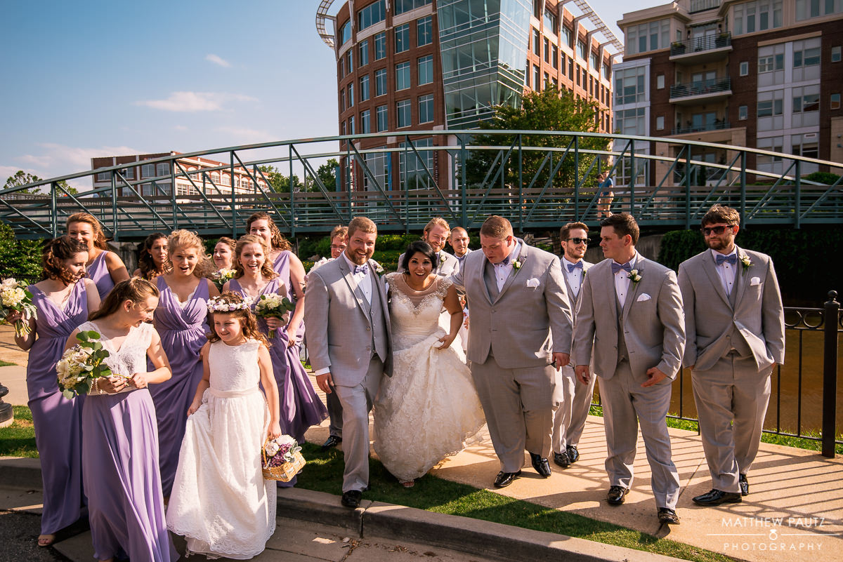 Full wedding party in downtown Greenville SC