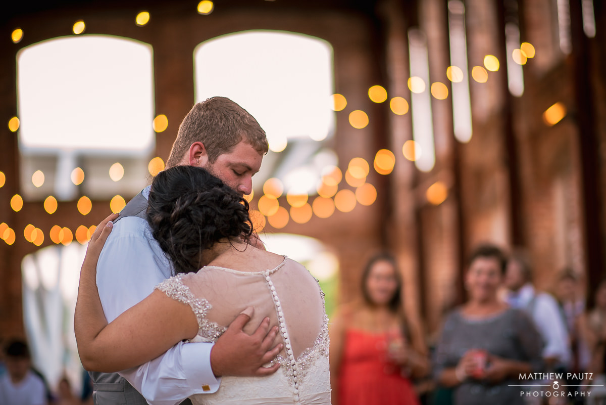 bride and groom's first dance at Wyche Pavilion reception