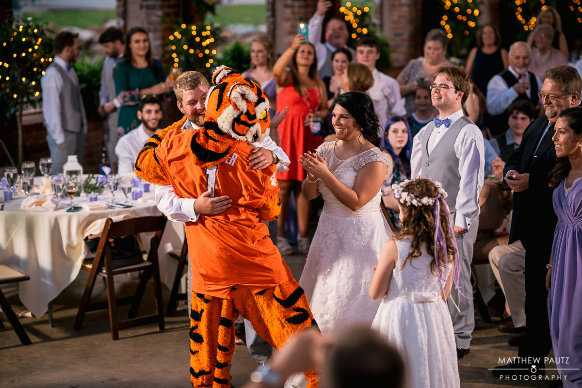 Clemson Tiger at wedding reception