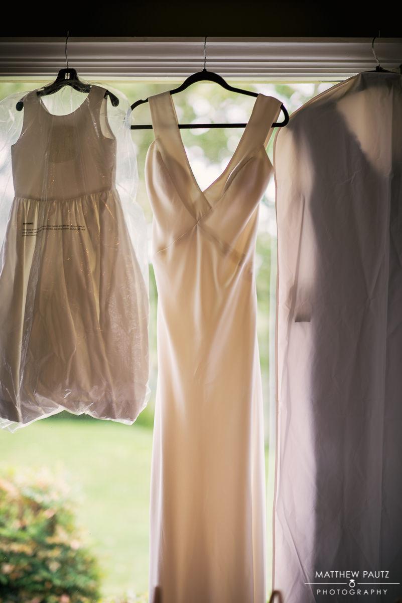 various wedding dresses hanging at Keowee Key