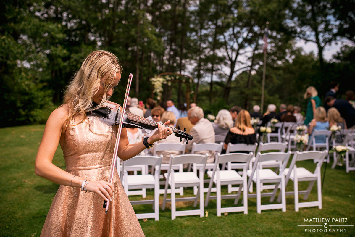 Kat V of VIP Violin performing at wedding ceremony