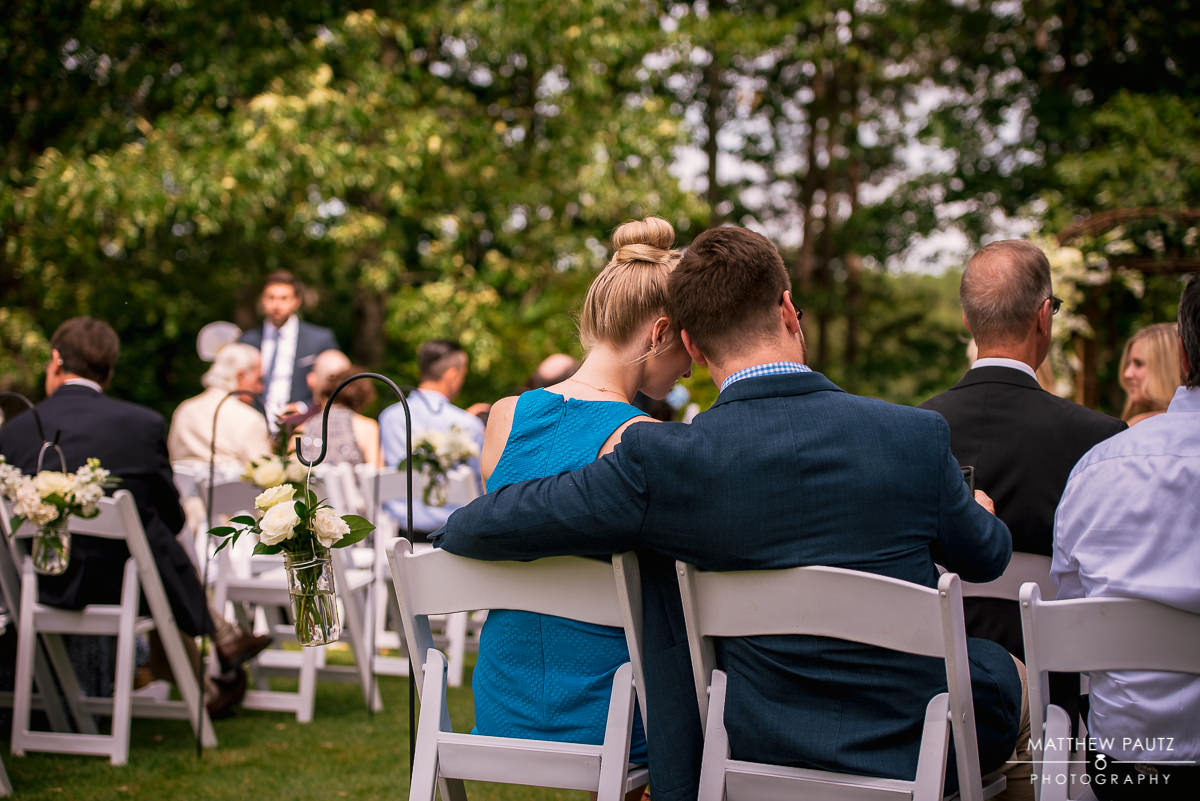 wedding guests in seat before outdoor ceremony at Keowee Key