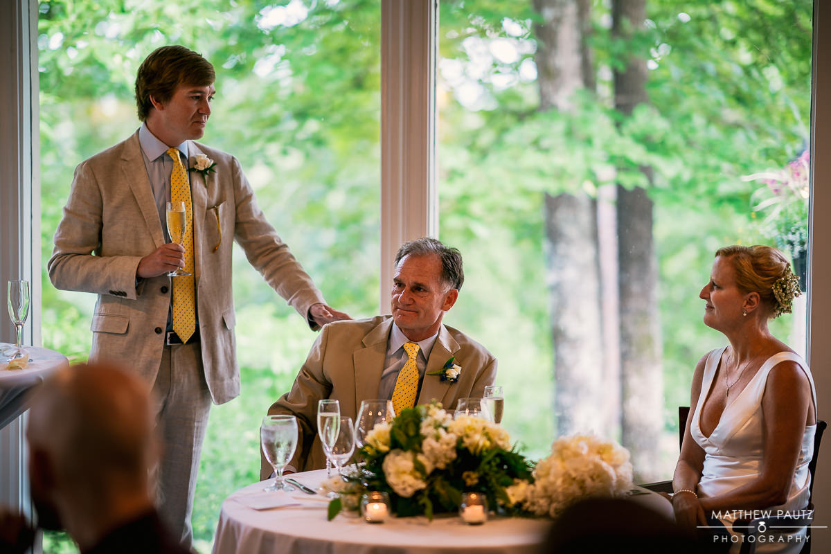 Country club wedding toasts at reception