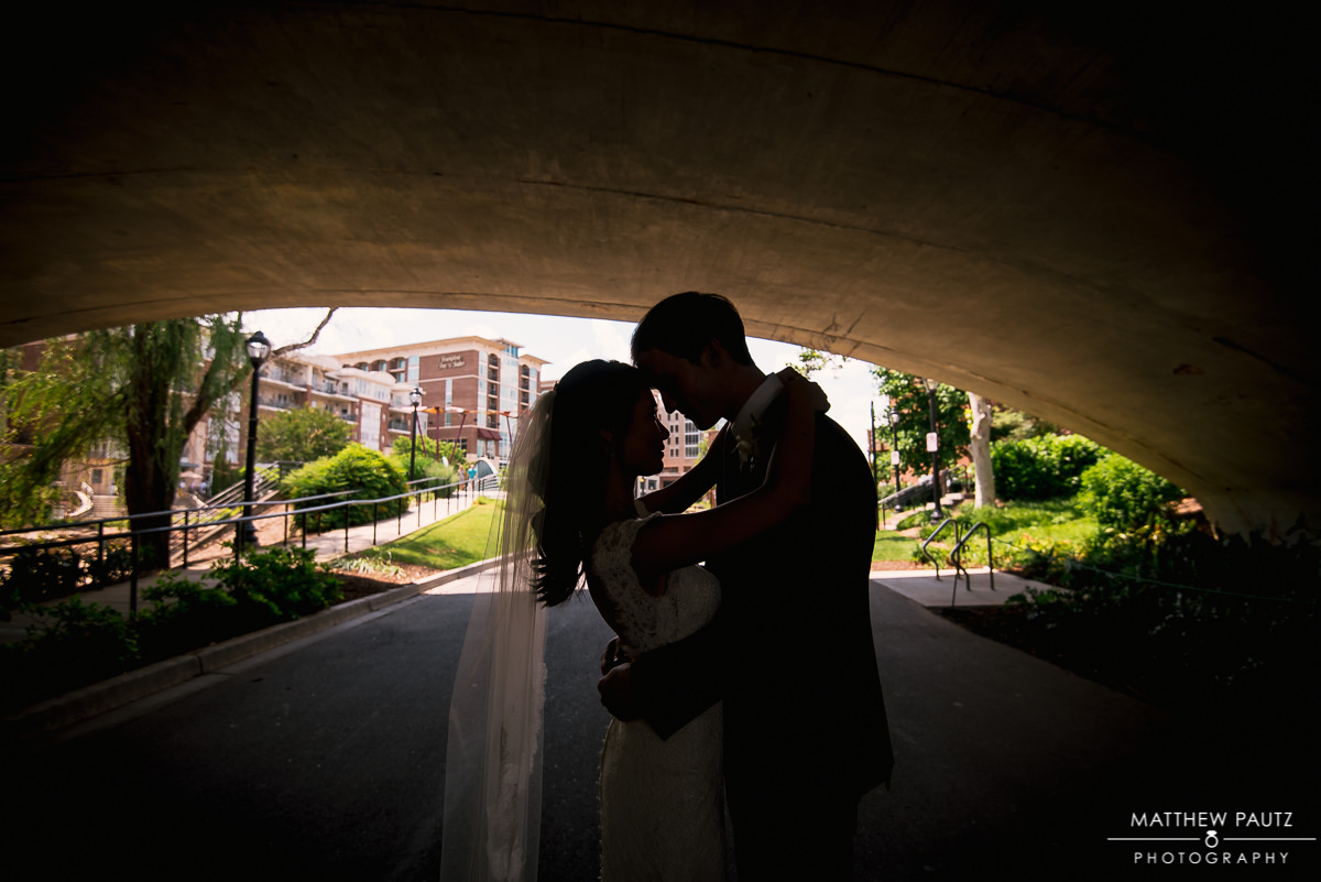Bride and Groom in Falls park, Greenville Sc