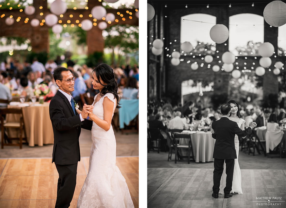 wedding reception photos at wyche pavilion, greenville sc